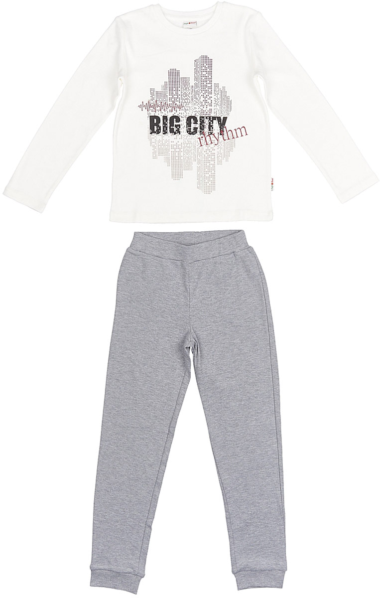 Пижама для мальчика Frutto Rosso, цвет: темно-серый меланж. FRB72142. Размер 152 джемперы свитера пуловеры frutto rosso джемпер для мальчика