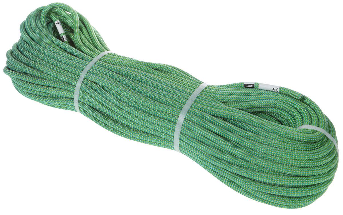 Веревка динамическая Vento Fly, с водоотталкивающей пропиткой, цвет: зеленый, диаметр 9,6 мм, длина 60 м веревка упак пеньковая d1 5 мм 40 м