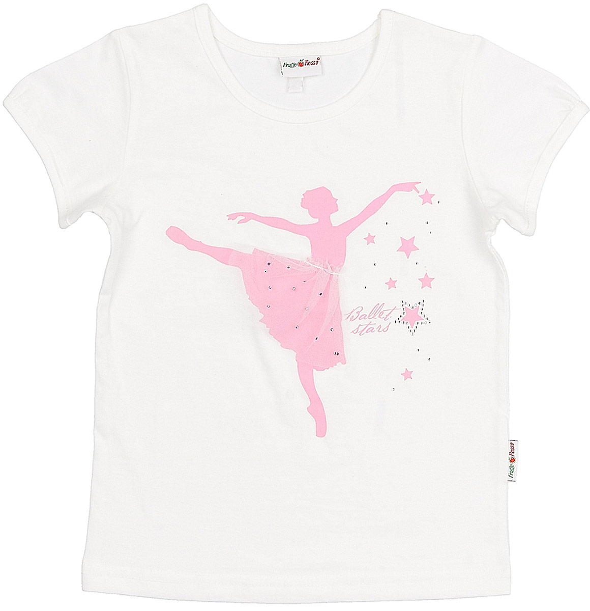 Футболка для девочки Frutto Rosso, цвет: белый. FRG72134. Размер 122 брюки джинсы и штанишки frutto rosso брюки для девочки