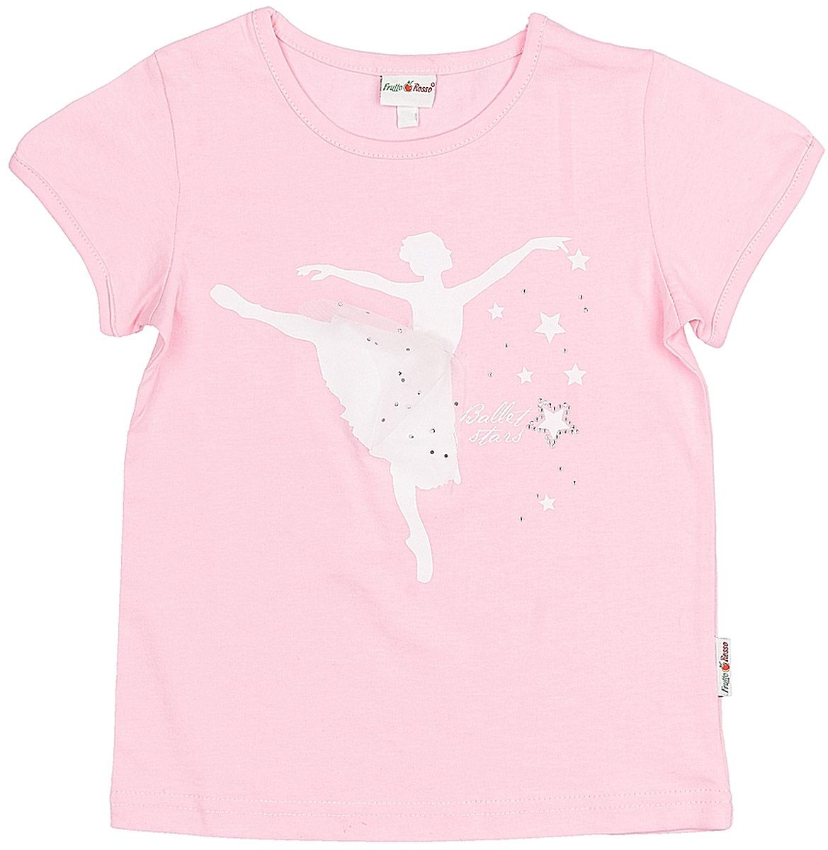 Футболка для девочки Frutto Rosso, цвет: светло-розовый. FRG72134. Размер 104 брюки джинсы и штанишки frutto rosso брюки для девочки