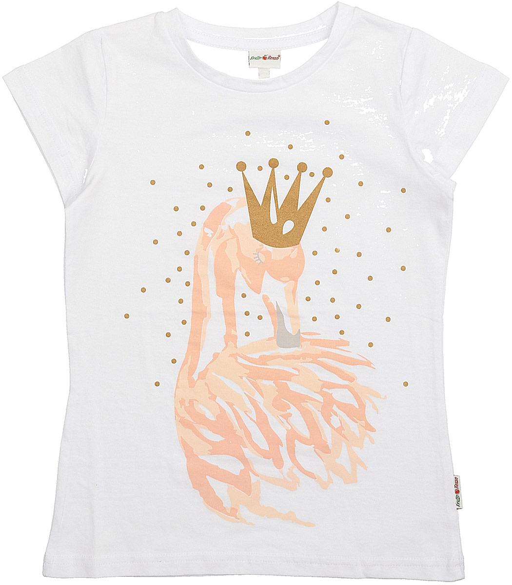 Футболка для девочки Frutto Rosso, цвет: белый. FRG72154. Размер 128FRG72154Комфортная футболка выполнена из 100% хлопка. Детали: короткий рукав, округлый вырез горловины, печать выполнена шелкографным способом