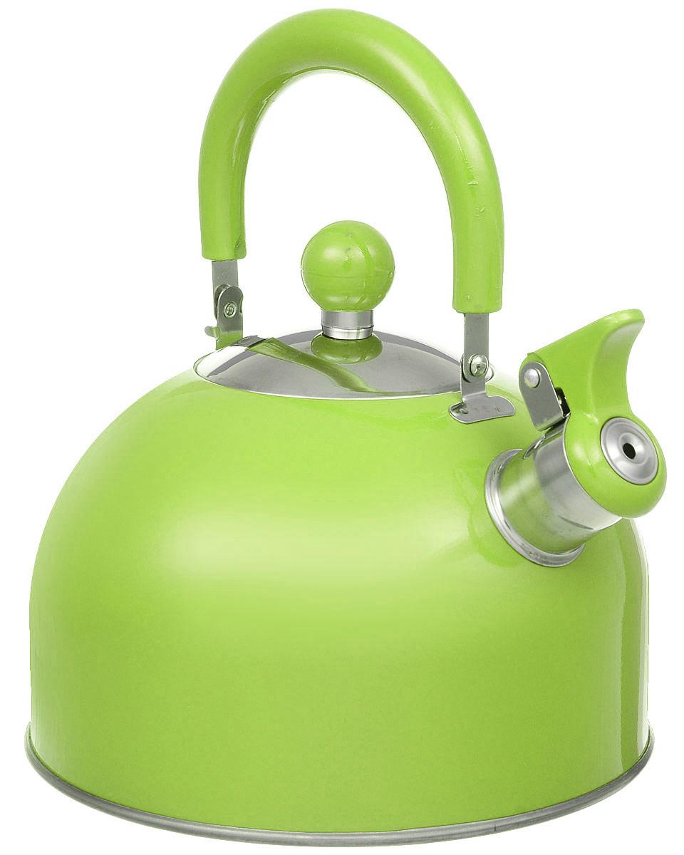 Чайник Travola, со свистком, цвет: зеленый, 2,5 лHSK-00702Чайник Travola выполнен из высококачественнойнержавеющей стали, что делает его весьма гигиеничными устойчивым к износу при длительном использовании.Носик чайника оснащен насадкой-свистком, что позволитвам контролировать процесс подогрева или кипяченияводы. Чайник снабжен стальной крышкой и эргономичной бакелитовой ручкой. Эстетичный и функциональный чайник будеторигинально смотреться в любом интерьере. Подходит для всех типов плит, включая индукционные.Высота чайника (с учетом ручки и крышки): 23 см. Диаметр чайника (по верхнему краю): 9 см. Диаметр индукционного дна: 19 см.