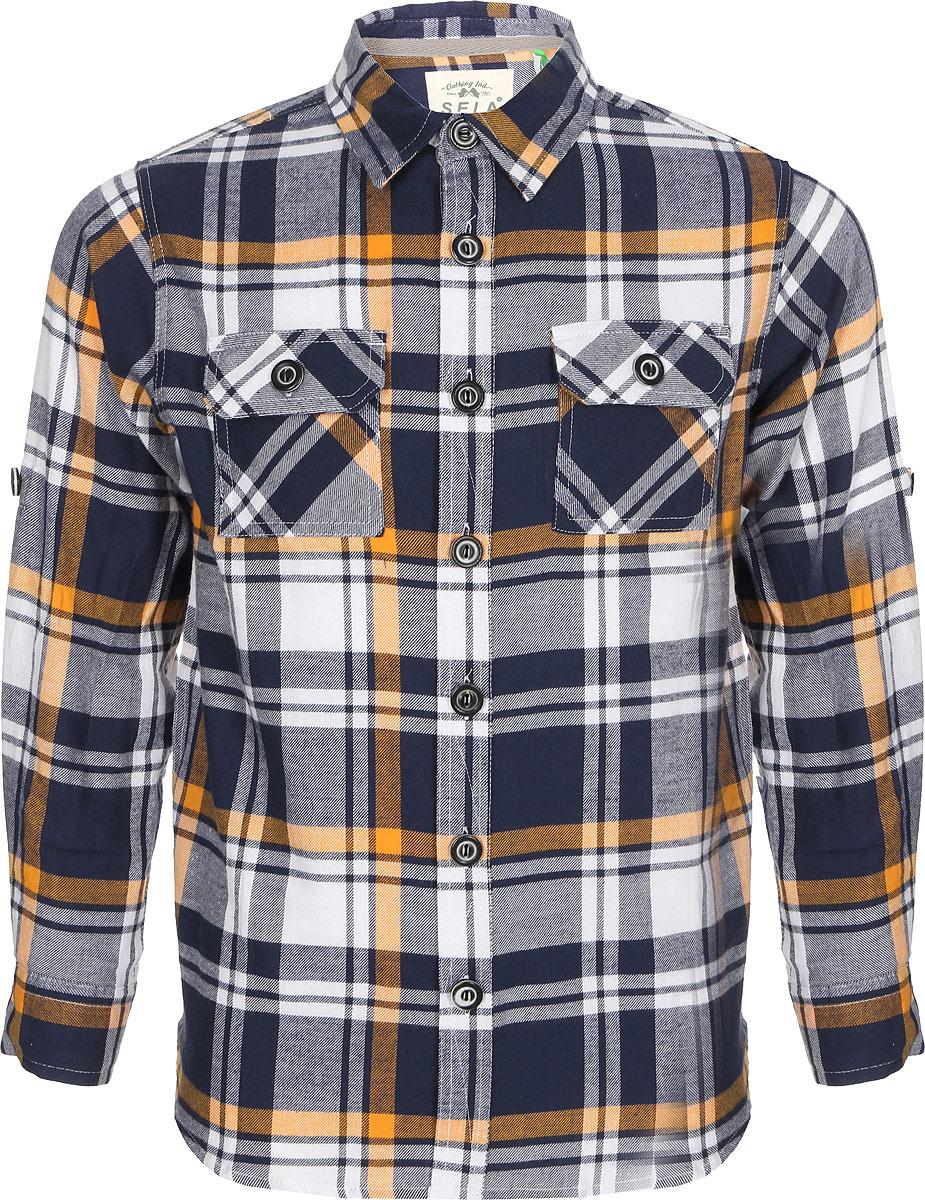Рубашка для мальчика Sela, цвет: темно-синий. H-812/224-8142. Размер 152, 12 летH-812/224-8142Рубашка от Sela выполнена из натурального хлопкового материала в клетку. Модель с длинными рукавами и отложным воротником застегивается на пуговицы, на груди дополнена накладными кармашками с клапанами на пуговицах.