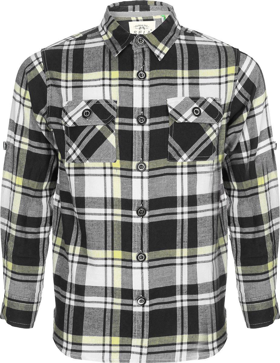 Рубашка для мальчика Sela, цвет: черный. H-812/224-8142. Размер 152, 12 лет sela рубашка поло для мальчика sela