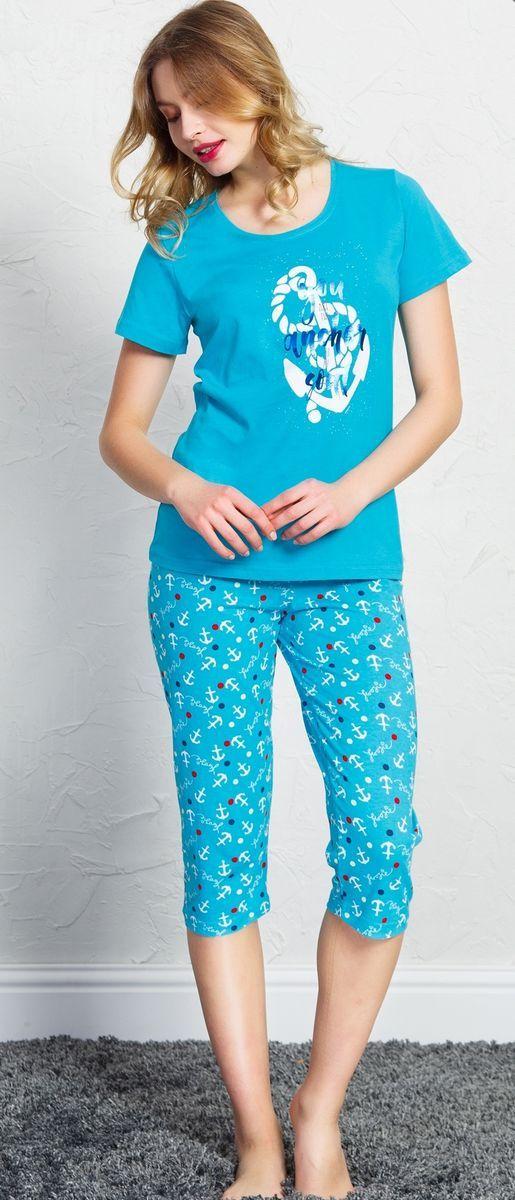 Комплект домашний женский Vienetta's Secret, цвет: бирюзовый. 708091 4521. Размер XL (50) комплект домашний женский vienetta s secret футболка капри цвет синий 408052 4668 размер xl 50