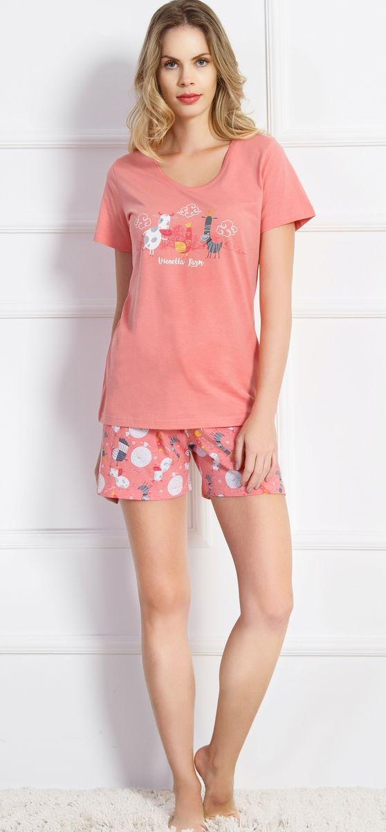 Комплект домашний женский Vienetta's Secret, цвет: коралловый. 707031 7074. Размер XL (50) комплект женский ераст