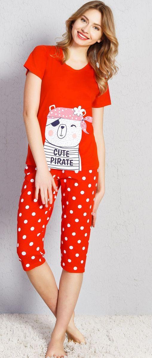 Комплект домашний женский Vienetta's Secret, цвет: красный. 708082 0680. Размер XL (50) комплект домашний женский vienetta s secret футболка капри цвет синий 408052 4668 размер xl 50