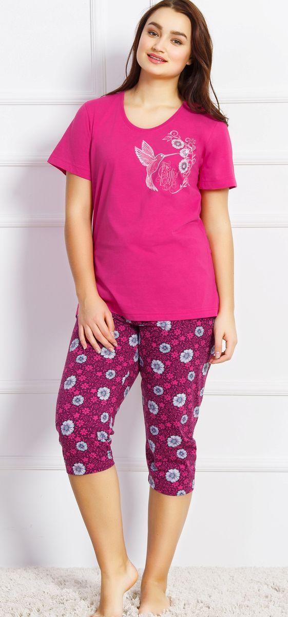 Комплект домашний женский Vienetta's Secret, цвет: малиновый. 710444 4533. Размер 3XL (54) женский брючный костюм qiaobeiyi 2015 femininos s 3xl c80323