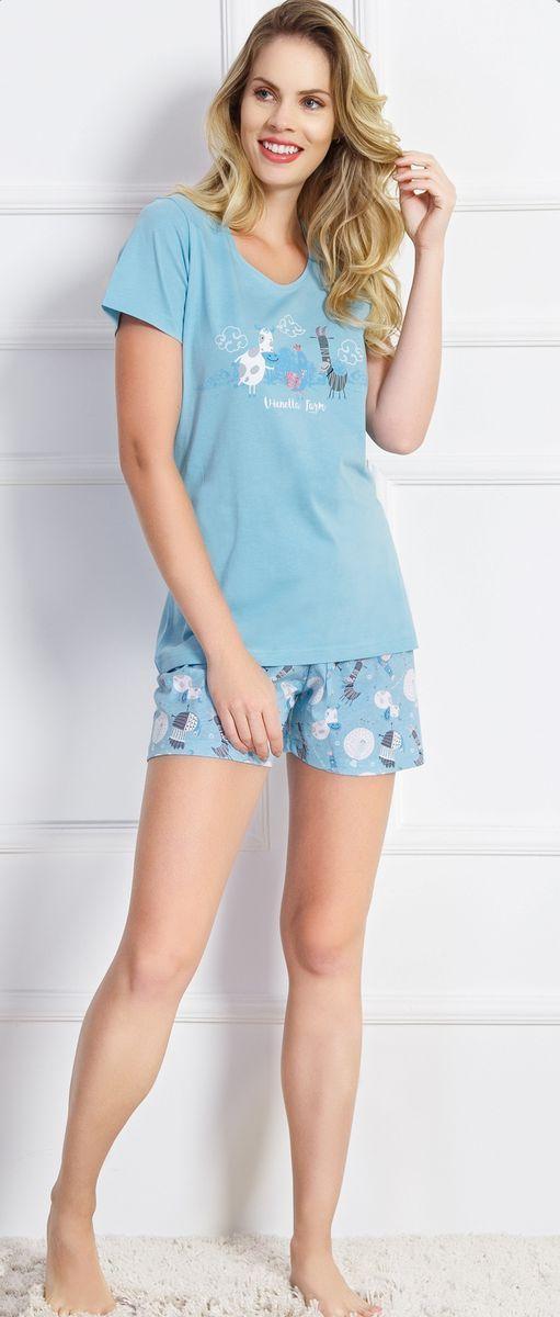 Комплект домашний женский Vienetta's Secret, цвет: светло-голубой. 707031 7074. Размер XL (50) комплект домашний женский vienetta s secret лонгслив брюки цвет голубой синий 509076 5074 размер xl 50