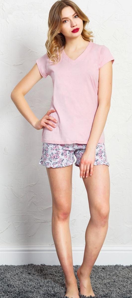 Комплект домашний женский Vienetta's Secret, цвет: светло-розовый. 710010 7700. Размер S (44) домашний комплект женский sevim топ шорты цвет кремовый 10281 sv размер l 44 46
