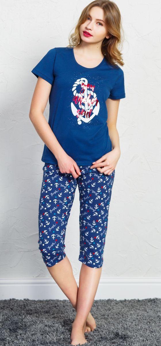 Комплект домашний женский Vienetta's Secret, цвет: темно-синий. 708091 4521. Размер XL (50) комплект домашний женский vienetta s secret футболка капри цвет синий 408052 4668 размер xl 50