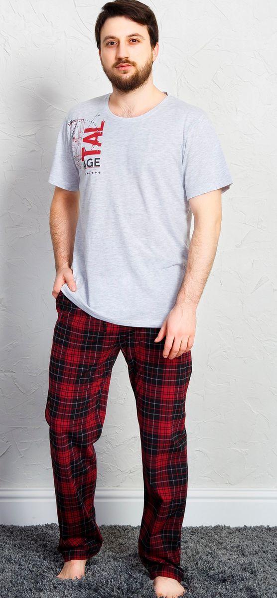 Комплект домашний мужской Vienetta's Secret, цвет: бордовый. 711075 3285. Размер 4XL (56)