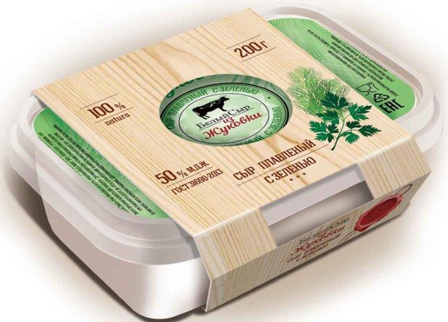 Белый сыр из Жуковки Сыр с Зеленью, плавленый 50%, 200гр