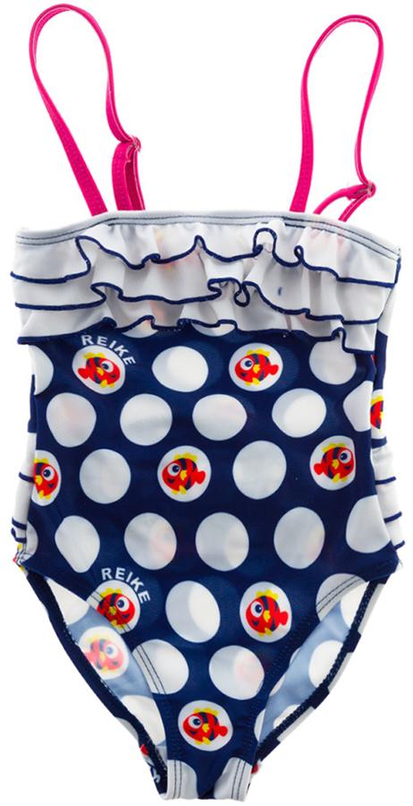Купальник слитный для девочки Reike, цвет: темно-синий. RS18_NTC2 navy. Размер 104, 4 годаRS18_NTC2 navyСлитный купальник для девочек от Reike подойдет не только для пляжного отдыха, но и для занятий в бассейне. Изделие из эластичного быстросохнущего материала обеспечивает свободу движений и приятно телу. Модель декорирована ярким морским принтом и имеет регулируемые лямки. Верх купальника со стороны спины обрамлен тройной рюшей, как и вокруг талии, что придает модели элегантный и оригинальный дизайн. Ткань с фильтром защиты 40UV эффективно защищает изделие от выгорания на солнце и защищает кожу от вредного солнечного излучения.