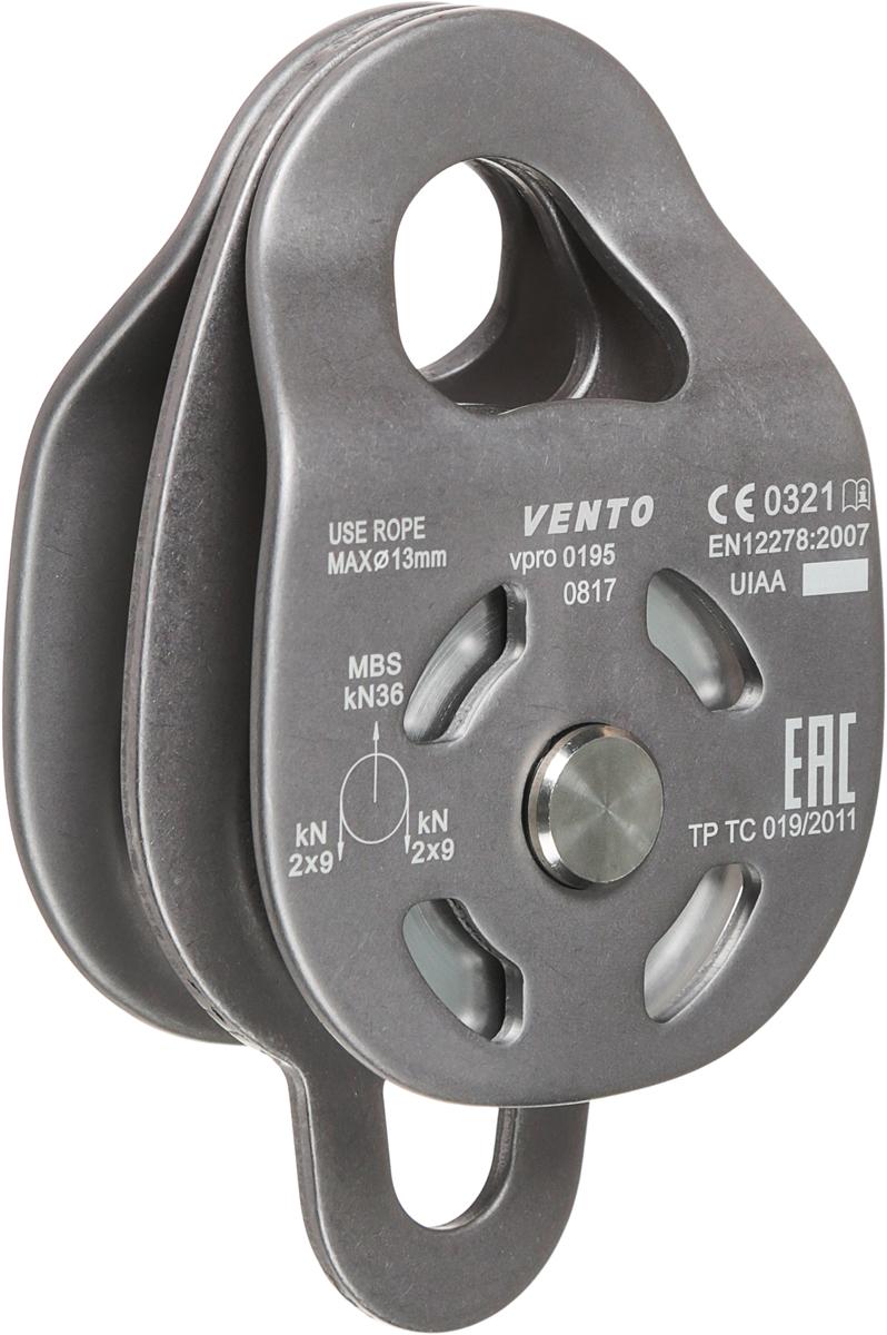 """Блок-ролик двойной """"Twin 36"""" с разъемными щечками предназначен для использования в системе полиспастов при натяжении навесных переправ, при транспортировке тяжелых грузов. Подходит для проведения спасательных работ. В блоке используется два независимых ролика, смонтированных на одной оси и установленных на закрытых шарикоподшипниках. Устройство VENTO имеет третью разделительную щечку с нижним отверстием под карабин. Характеристики:Максимальный диаметр совместимых веревок: 13 ммРабочая нагрузка: 10 кН (2,5х4 кН)Максимальная нагрузка: 36 кН (9х4 кН)КПД: 91%Материал шкива: дюральДиаметр шкива: 48 ммМатериал щечек: дюральМасса: 432 гДлина: 83 ммВысота: 140 ммШирина: 55 ммСоответствие: ТР ТС 019/2011, EN 12278Сертификация: ЕАС, СЕ 0321, UIAA"""