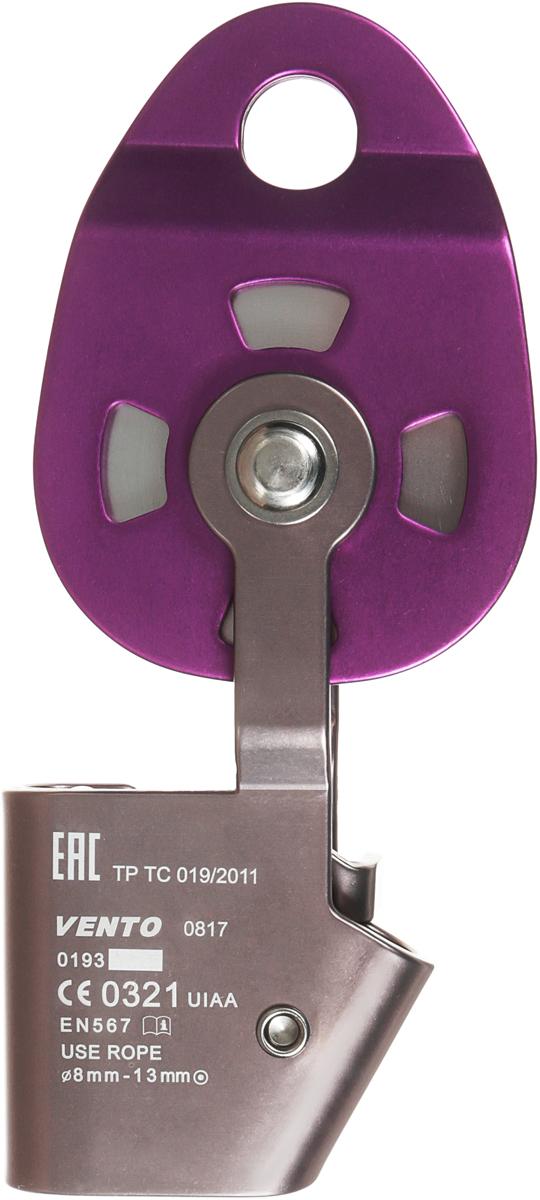 """Одинарный блок-ролик с зажимом """"Holder"""" с разъемными щечками используется при подъеме тяжелых грузов, при натяжении переправ. Допускается использование в качестве блок-зажима и простого ролика. Устройство VENTO имеет закрытый шарикоподшипник. Зажим вращается вокруг оси ролика, что позволяет вытягивать веревку под любым углом. Характеристики:Максимальный диаметр совместимых веревок: 13 ммРабочая нагрузка: 6 кН (3х2 кН)Максимальная нагрузка: 25 кН (12,5х2 кН)КПД: 90%Материал шкива: дюральДиаметр шкива: 52 ммМатериал щечек: дюральМасса: 402 гДлина: 79 ммВысота: 186 ммШирина: 39 ммСоответствие: ТР ТС 019/2011, EN 12278, EN 576Сертификация: ЕАС, СЕ 0321, UIAA"""