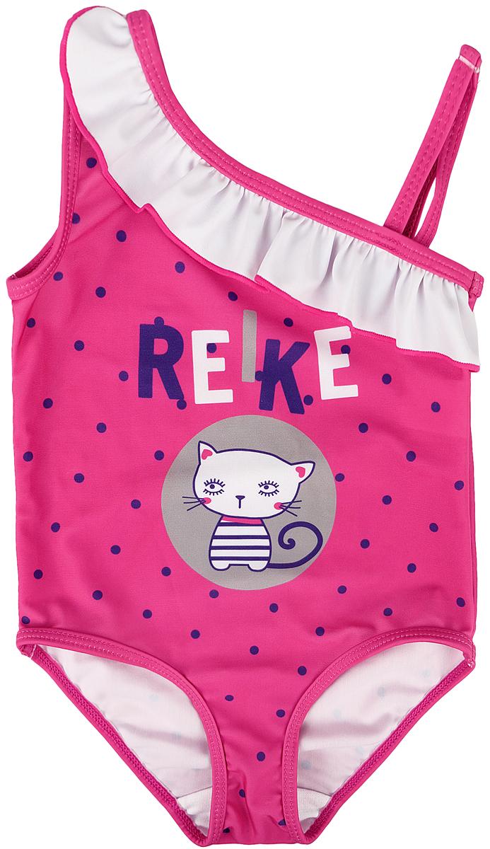 Купальник слитный для девочки Reike, цвет: фуксия. RS18_CATS2 fuchsia. Размер 98, 3 года купальник слитный для девочки playtoday baby солнечная палитра цвет розовый 188077 размер 98