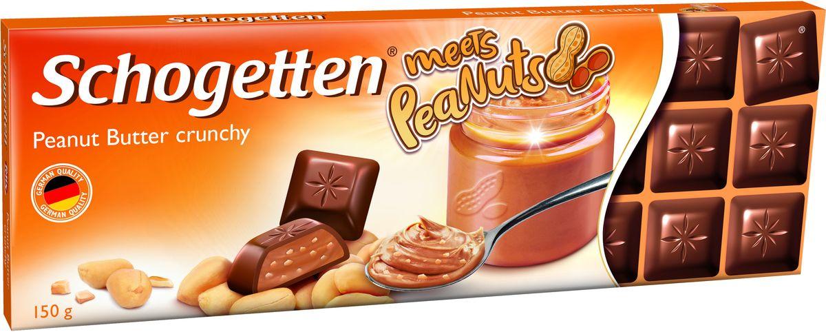 Schogetten Альпийский молочный шоколад с кремовой начинкой из арахисового масла, кусочками арахиса и рисовыми криспами, 150 г яшкино вафли глазированные с орешками 200 г