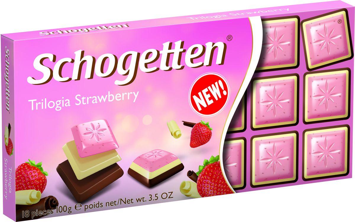 Schogetten Белый шоколад со вкусом клубники, белый шоколад, альпийский молочный шоколад, 100 г шоколад schogetten caramel brownie молочный с карамелью 100г