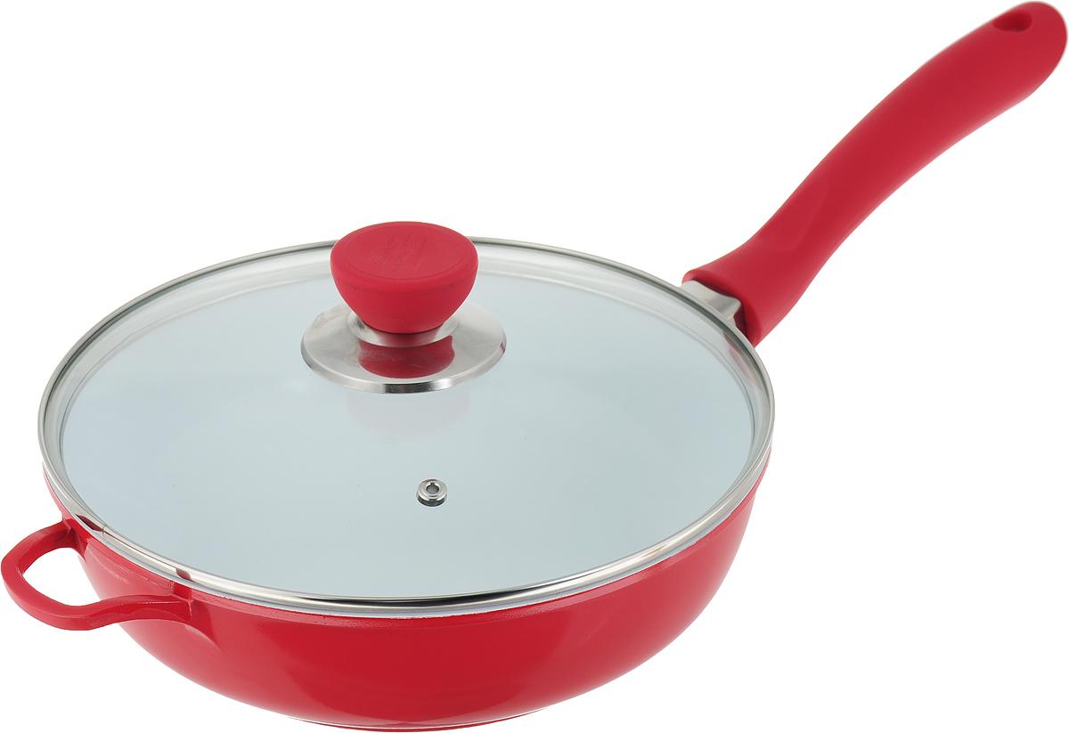 Сковорода BartonSteel с крышкой, с керамическим покрытием, цвет: красный. Диаметр 24 см. 7134BS сковорода copper chef с керамическим покрытием диаметр 20 см