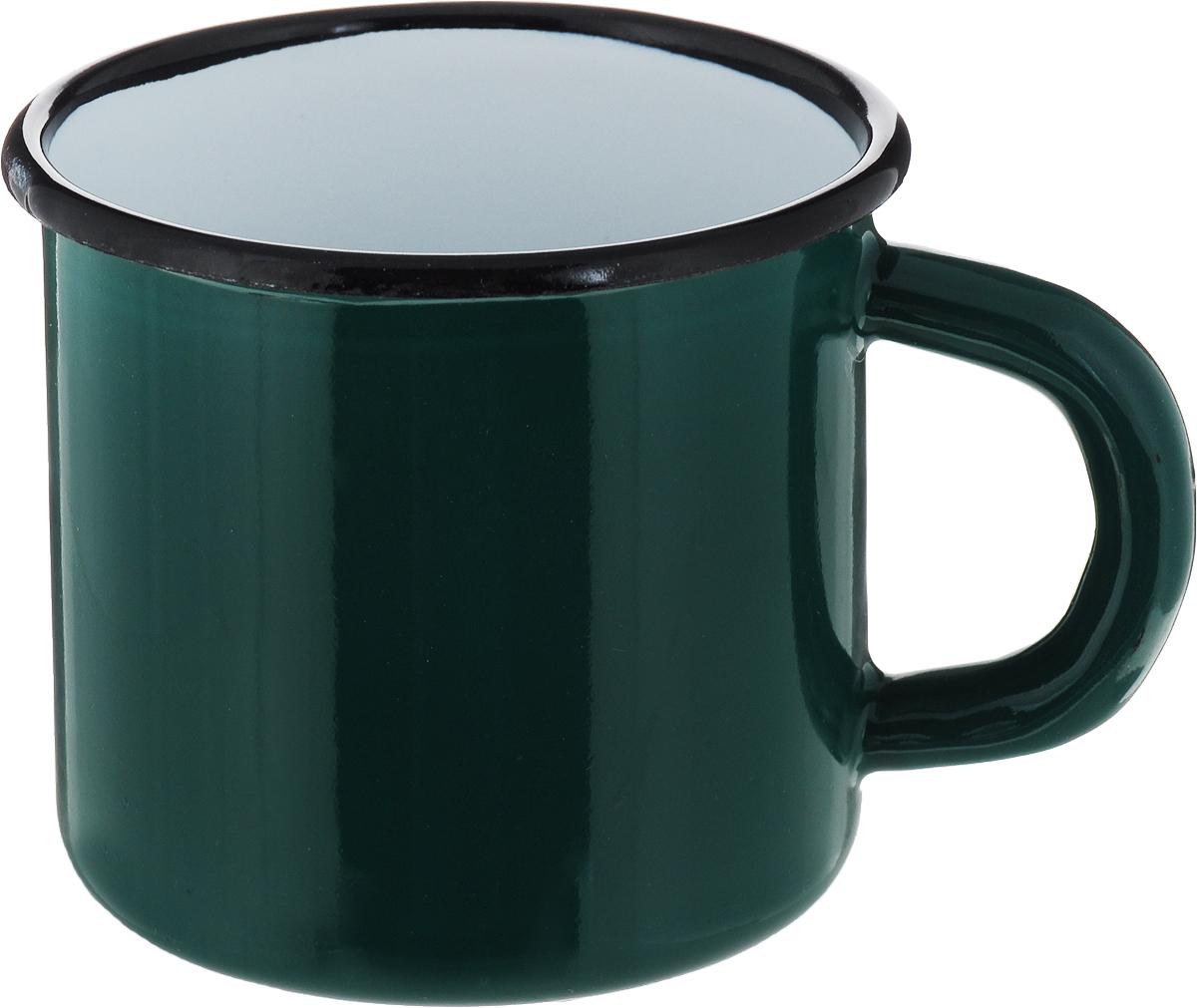 Кружка эмалированная СтальЭмаль, цвет: зеленый, 250 мл2с1я_зеленыйКружка эмалированная СтальЭмаль, цвет: зеленый, 250 мл