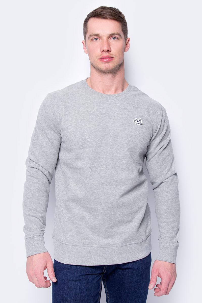 Свитшот мужской Jack & Jones, цвет: серый. 12130579_Light Grey Melange. Размер L (50)