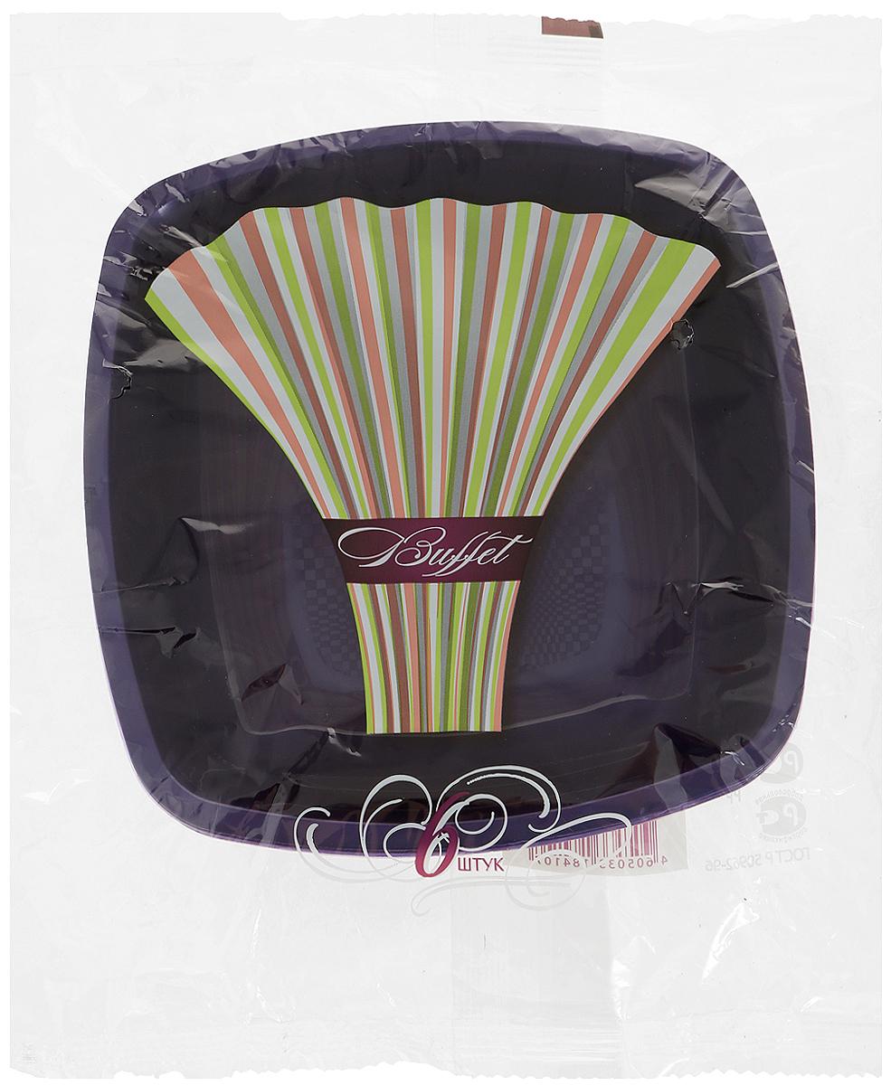 Набор одноразовых глубоких тарелок Buffet, цвет: фиолетовый, цвет: фиолетовый, 18 х 18 см, 6 шт набор одноразовых стаканов buffet biсolor цвет оранжевый желтый 200 мл 6 шт