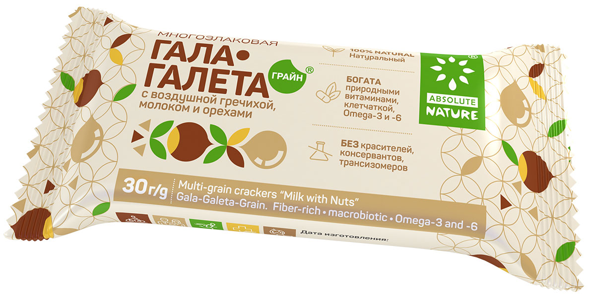 Absolute Nature Галета с воздушными зернами гречихи, молоком и орехами 36 шт 30 г арахис farm production for 500g