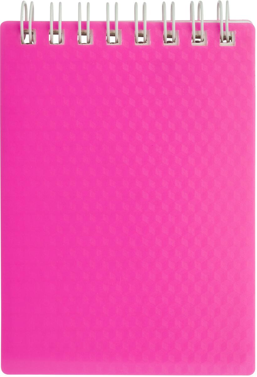 Hatber Блокнот Diamond Neon 80 листов в клетку цвет розовый36175Блокнот 80л А6ф клетка Пластиковая обложка на гребне