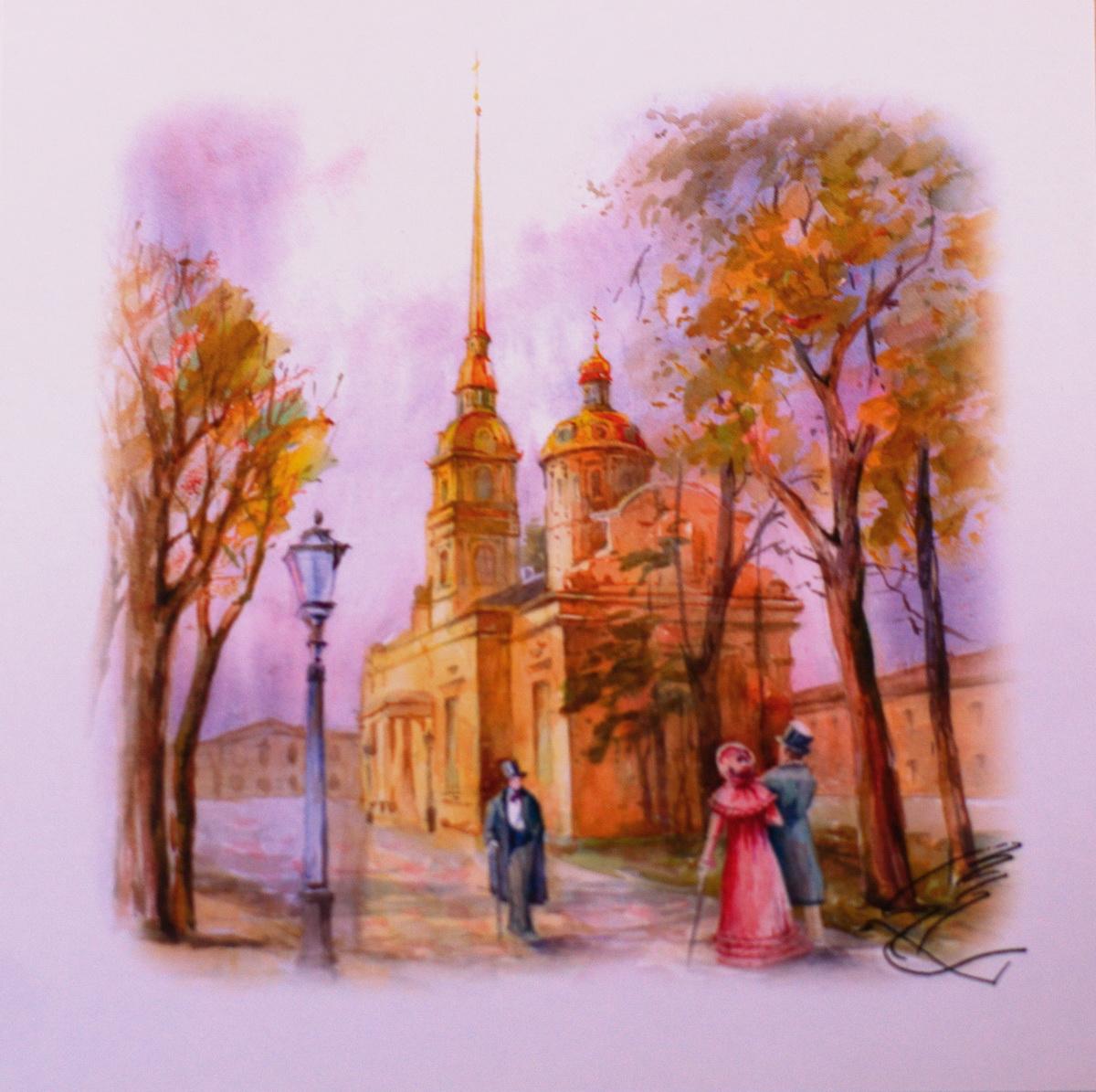Открытка YusliQ Петропавловский собор. Авторская работа. o1803o1803Предлагаем вашему вниманию открытку с видом Санкт-Петербурга, она станет необычным и ярким дополнением к подарку дорогому и близкому вам человеку или просто добавит красок в серые будни.
