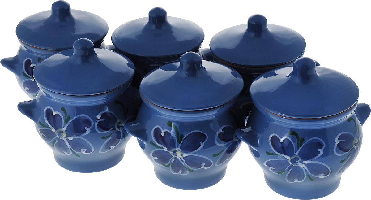 Набор горшочков для запекания Борисовская керамика Стандарт, с крышками, цвет: синий nume синий стандарт сша