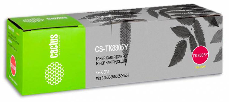 Cactus CS-TK8305Y, Yellow тонер-картридж для Kyocera Mita 3050/3050ci/3051/3051ci/3550/3550ci/3551/3551ci картридж cactus cs ph7100y 106r02608 желтый картридж лазерный тонер картридж повышенная желтый