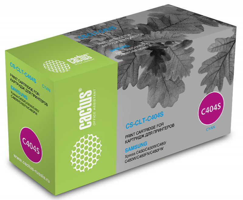 Cactus CS-CLT-C404S, Cyan тонер-картридж для Samsung SL-C430/C430W/C480/C480W/C480FWCS-CLT-C404SТонер Картридж Cactus CS-CLT-C404S голубой для Samsung SL-C430/C430W/C480/C480W/C480FW (1000стр.)