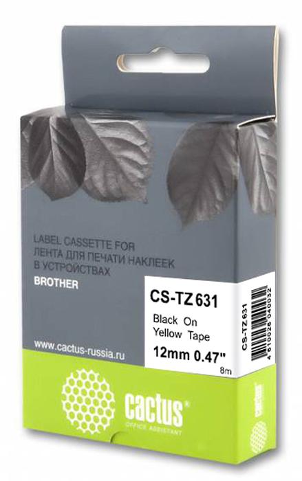 Cactus CS-TZ631, Black картридж ленточный для Brother 1010/1260VP/1830VP/9700PC лента ламинирования brother tz211 tze211 6мм для pt 1010 1280 1280vp 2700vp