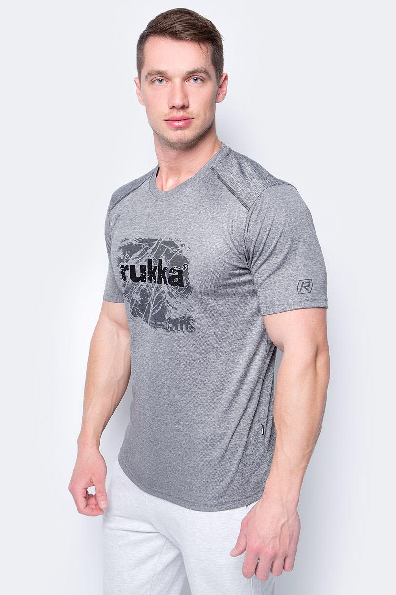 Футболка мужская Rukka, цвет: темно-серый. 979452217RV_899. Размер S (48)979452217RV_899Футболка от Rukka выполнена из полиэстера. Модель с короткими рукавами и круглым вырезом горловины на груди оформлена принтом.