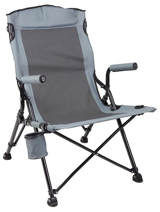 Большое cкладное кресло MISTRAL из линии PREMIUM OUTDOOR бренда TREK PLANET - отличный выбор для тех, кто ценит комфорт, будь то рыбалка, охота или пикник.  Также это прекрасный выбор для крупных людей так как кресло выдерживает нагрузку до 180 кг. Мягкая подбивка по периметру. Широкое комфортное сиденье. Высокая спинка хорошо поддерживает спину. Надежная стальная рама сечением 28,5 мм.  Регулируемый держатель для стакана, бутылки при необходимости убирается под кресло. Специальные наконечники на ножках, препятствуют проваливанию кресла в землю и песок. Не смотря на большой размер кресло компактно складывается и комплектуется чехлом с лямкой для переноски.  - Широкое комфортное сиденье - Высокая спинка - Подлокотники  - Регулируемый держатель для стакана - Защита ножек препятствует проваливанию кресла в землю и песок - Компактно складывается - Комплектуется чехлом с лямкой Характеристики: Материал: 600D полиэстер с защитой от УФО Рама: 28,5/20 мм сталь с покрытием от царапин и коррозии Подлокотники: сталь с защитным чехлом из материала 600D полиэстер Размер в разложенном виде: 49 х 62 х 45/100 см Размер в сложенном виде: 20 х 20 х 95 см Вес: 5,0 кг Нагрузка: 180 кг Цвет: серый Производство: Китай Артикул: 70642.