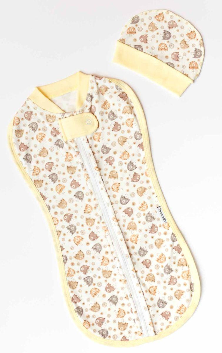 Спальный мешок для новорожденных Pecorella Зонтики, с шапочкой, цвет: коричневый. 2000000001296. Размер 50
