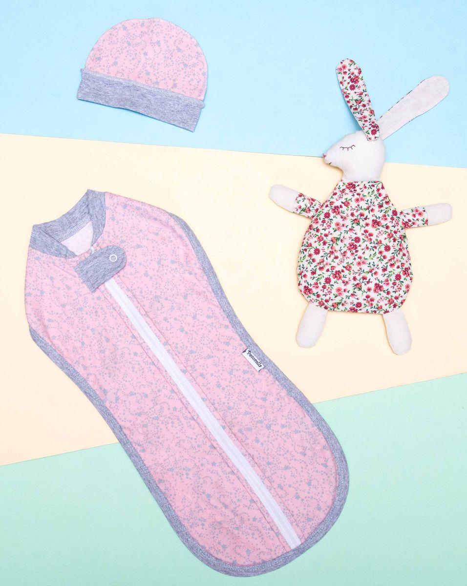 Спальный мешок для новорожденных Pecorella Нежная Пенка, с шапочкой, цвет: розовый, серебристый. 2000000001296. Размер 50