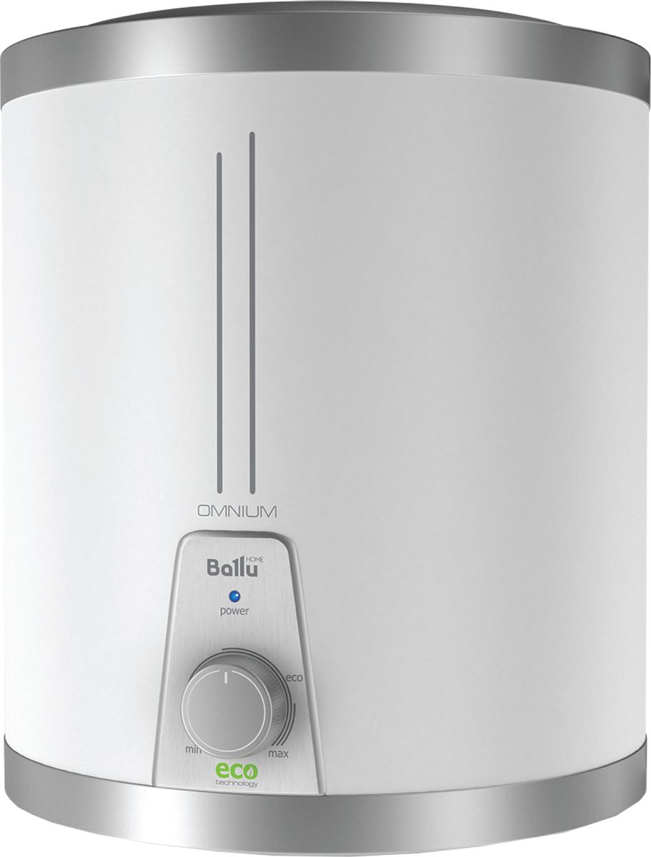 Ballu BWH/S15OmniumO, White водонагреватель накопительныйНС-1036983Выбирая серию Omnium, Вы приобретаете ультракомпактный водонагреватель с идеальным набором преимуществ: экономичный режим работы, невероятно быстрый нагрев воды, многоуровневая система безопасности, длительная гарантия.Отличительные особенности Современные модели в стальном корпусе белого цвета Круглый дизайн (10, 15 л) Подключение воды сверху (U), снизу (O) Внутренний бак из высококачественной нержавеющей стали Устройство Защитного Отключения электричества в комплекте Экономичный режим работы ECO-technology: защита от накипи, обеззараживание воды, повышенный ресурс нагревательного элемента Быстрый нагрев воды Многоуровневая система безопасности: защита от сухого нагрева, защита от перегрева, защита от превышающего норму гидравлического давления через предохранительный сливной клапан Индикатор нагрева Эффективная теплоизоляция (20 мм) Компактный размер Класс пылевлагозащищенности IPX4 Гарантия на бак – 7 лет