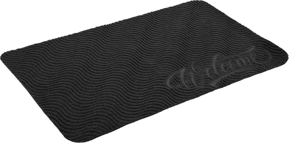 Коврик придверный Vortex Comfort Welcome, без подложки, цвет: серый, 75 x 45 см коврик придверный 35х60 см черный свинка vortex 20028