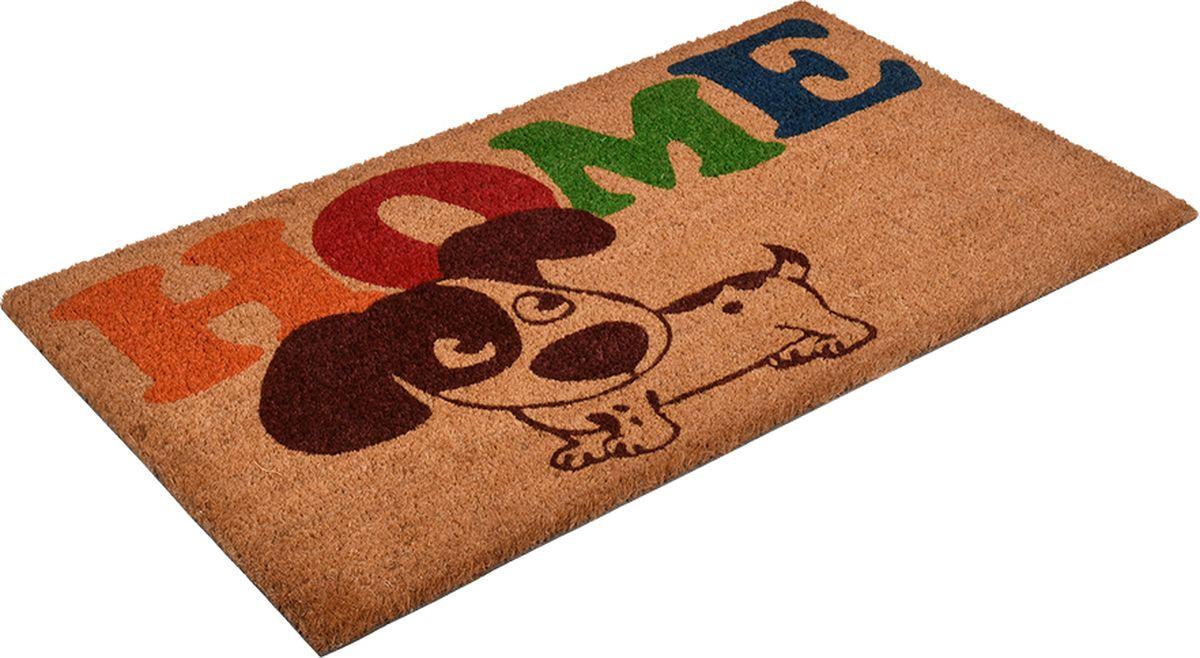 Коврик придверный Vortex Собака, с кокосовым ворсом, цвет: коричневый, 70 x 40 см коврик придверный 35х60 см черный свинка vortex 20028