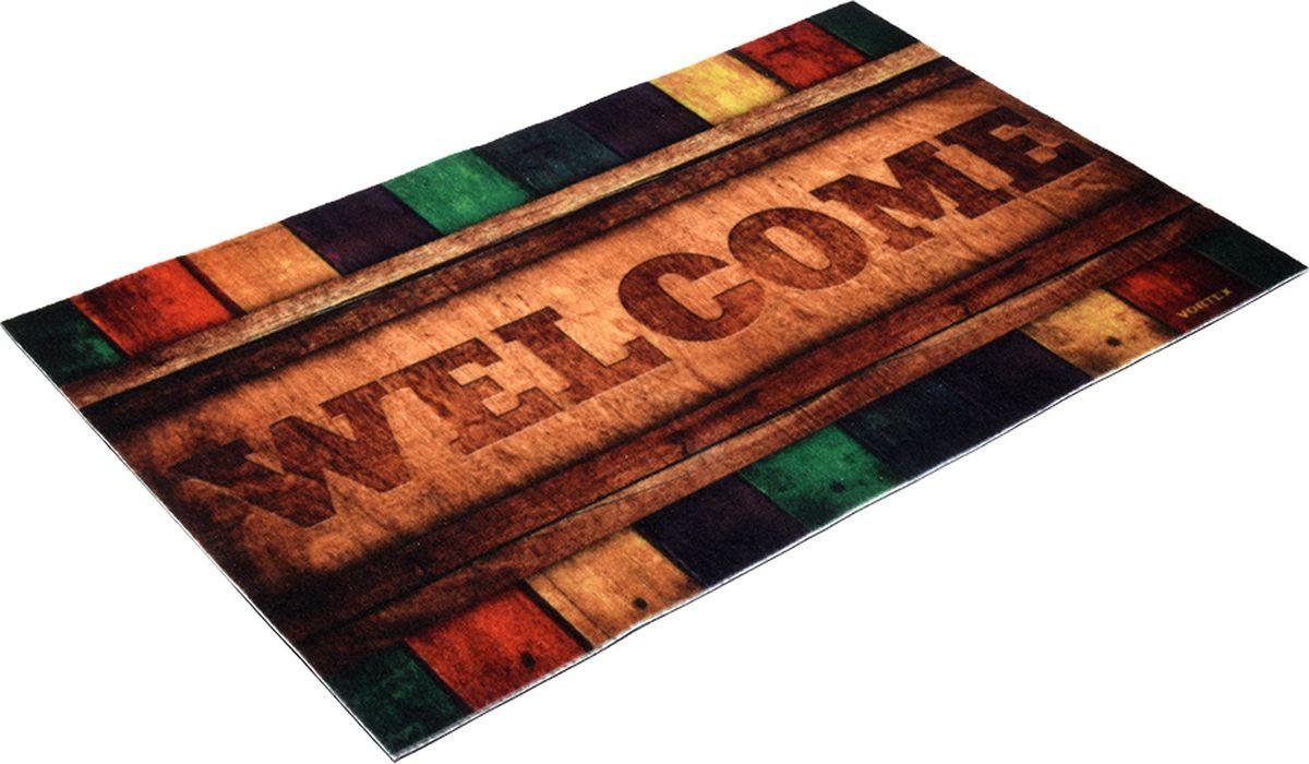 Коврик придверный Vortex Samba Welcome, влаговпитывающий, цвет: мультиколор, 80 x 50 см коврик придверный 35х60 см черный свинка vortex 20028