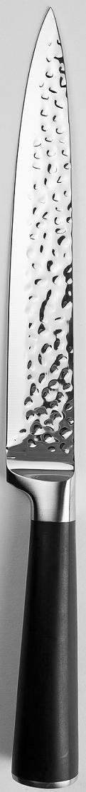 """Нож разделочный """"Srern"""" из нержавеющей стали с эргономичной ручкой.  Нож можно затачивать традиционным способом. Пользоваться металлическими мочалками, абразивными чистящими средствами и средствами с хлором не рекомендуется. Мыть предметы из нержавеющей стали рекомендуется обычной губкой и жидким моющим средством. После мытья, чтобы избежать образования известкового налета, предметы из нержавеющей стали необходимо насухо вытирать мягкой впитывающей тканью."""