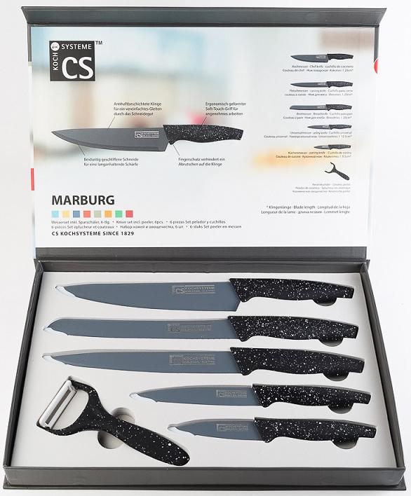 Набор ножей MARBURG в подарочной коробке изготовлен из высококачественной нержавеющей стали с антипригарным декоративным покрытием и эргономичной ручкой. Комплект включает в себя 6 наименований: 5 ножей и овощечистка . Ножи можно затачивать традиционным способом. Пользоваться металлическими мочалками, абразивными чистящими средствами и средствами с хлором не рекомендуется. Мыть предметы из нержавеющей стали рекомендуется обычной губкой и жидким моющим средством. После мытья, чтобы избежать образования известкового налета, предметы из нержавеющей стали необходимо насухо вытирать мягкой впитывающей тканью.