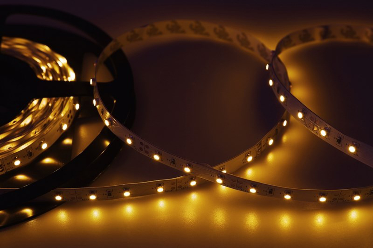 Светодиодная лента Neon-Night SMD 3528, 8 мм, IP23, 60 LED/m, 12V, цвет: желтый лампа светодиодная asd led свеча standard 5 0вт 160 260в е27 4000к