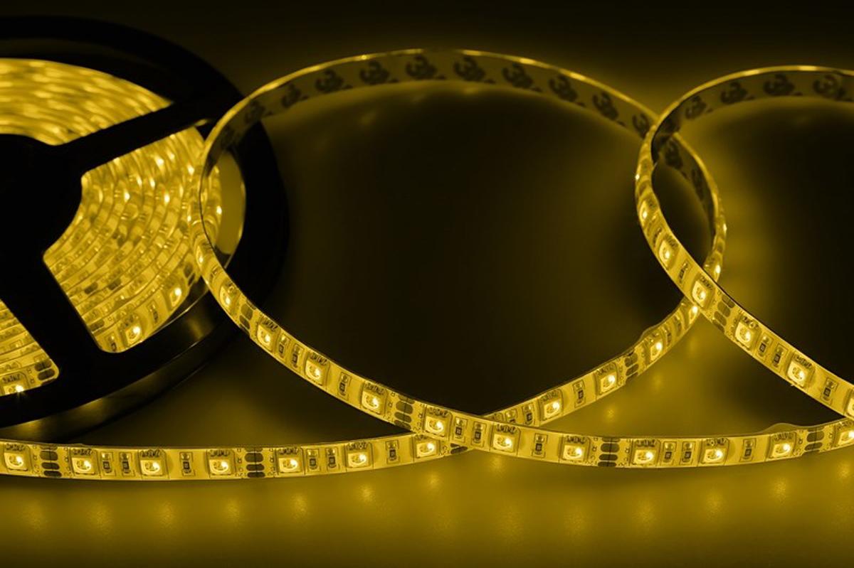 Светодиодная лента Neon-Night SMD 5050, силикон, 10мм, IP65, 60 LED/m, 12V, цвет: желтый