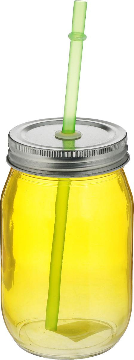 """Емкость для напитков """"Zeller"""", с трубочкой, цвет: желтый, 450 мл"""