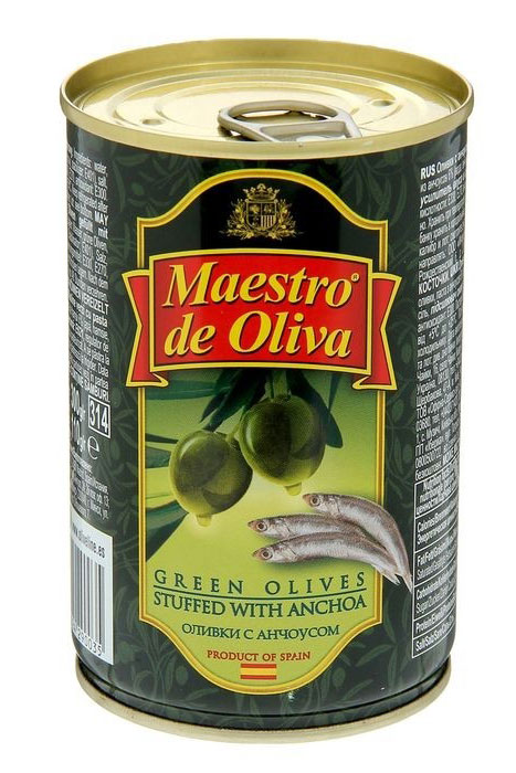 Maestro de Oliva оливки крупные с анчоусом, 350 г maestro de oliva оливки с беконом 300 г