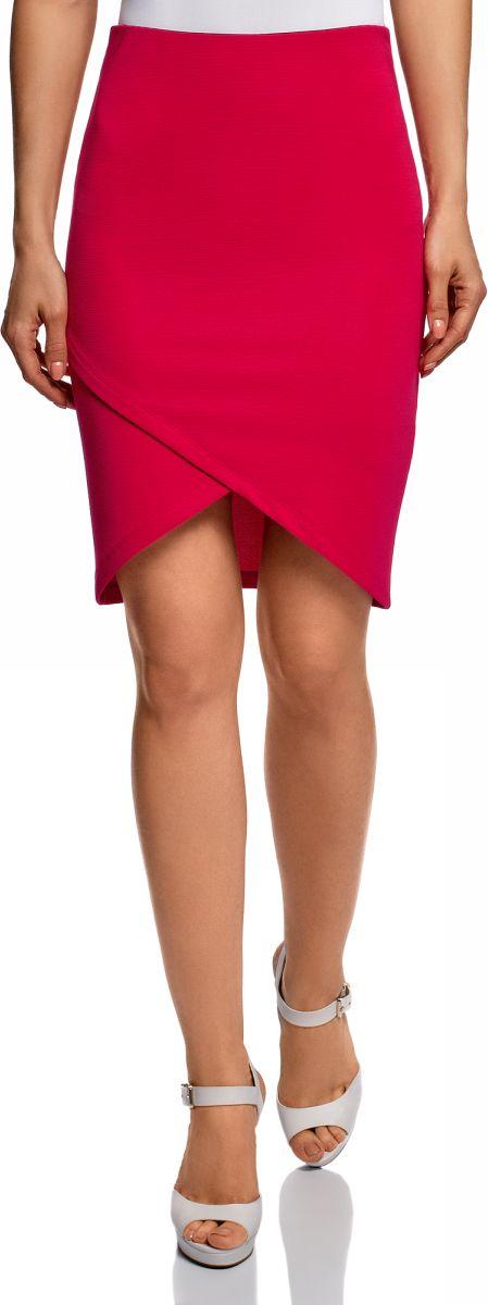 Юбка oodji Ultra, цвет: фуксия. 14101081-1B/22132/4700N. Размер S (44)14101081-1B/22132/4700NКороткая облегающая юбка от oodji с асимметричным низом. Модель без пояса, длина выше колена. Передняя часть оформлена в виде запаха. Такой фасон дает возможность продемонстрировать ноги и добавляет образу пикантность. Приятный трикотаж практичен, не растягивается и не мнется. Юбка эффектно обрисовывает фигуру, подчеркивая ее изгибы, и отлично сидит.Облегающая трикотажная юбка – отличный вариант для создания элегантных нарядов на особый случай. Ее можно надеть на торжество, вечеринку или корпоратив. С короткой юбкой будет отлично смотреться блузка свободного кроя с широким поясом на талии. Вы создадите хрупкий романтический лук, подобрав к юбке облегающий ажурный топ из легкой ткани. Такой комплект украсят туфли на высоком каблуке. В нем можно пойти на свидание или светскую вечеринку. В этом наряде вы непременно привлечете внимание окружающих. Короткая трикотажная юбка внесет разнообразие в ваш гардероб и станет основой для создания запоминающихся луков.