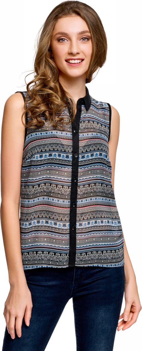 Купить Топ женский oodji Ultra, цвет: черный, синий. 14903001-1B/42816/2975G. Размер 42-170 (48-170)
